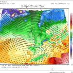 Temperaturile în cursul zilei de joi în jurul prânzului. Sursa: model WRF Modellzentrale