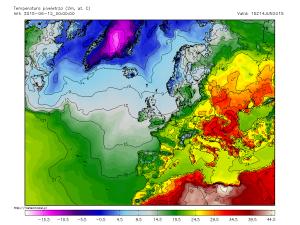 "Temperaturile estimate a se inregistra in dupa-amiaza zilei de duminica. Dupa cum se poate observa, tara noastra se afla in zona cea mai ""fierbinte"" a Europei. Sursa: meteomodel.pl, model GFS."