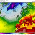 Temperaturi extrem de ridicate așteptate a se înregistra în sudul continentului la mijlocul săptămânii. În imagine sunt valorile maxime estimate pentru ziua de miercuri, când în Spania se pot atinge 45 de grade Celsius! Sursa: meteomodel.pl, model GFS.