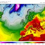 Temperaturi foarte ridicate asteptate a se inregistra pe parcursul zilei de sambata in sudul si estul continentului. Sursa: meteomodel.pl, model GFS.
