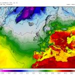 Temperaturile maxime asteptate a se inregistra in dupa-amiaza zilei de marti, 1 septembrie. Romania este amplasata in mijlocul acestui val canicular! Sursa: meteomodel.pl, model GFS.