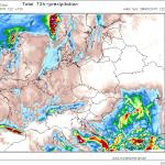 Cantitatile de precipitatii estimate a se acumula pana sambata dupa-amiaza. Valori izolate de peste 100 de mm sunt posibile in Subcarpatii Getici, iar riscul producerii de inundatii este unul ridicat. Sursa: modellzentrale.de, model WRF.