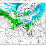 Tipul precipitatiilor preconizat de catre modelul numeric american GFS pentru seara zilei de duminica. Local in Transilvania si Maramures precipitatiile se vor transforma in lapovite si ninsori. Sursa: tropicaltidbits.com.