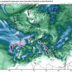Cantitatile de precipitatii estimate a se acumula pana duminica seara. Cele mai importante cantitati (de pana la 30 de mm cumulat pe intreg intervalul) sunt asteptate in sud-estul tarii si in zonele montane din vest. Sursa: tropicaltidbits.com, model GFS.